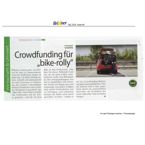 Brixner Juli 2016 - Crowdfunding für Bike-Rolly