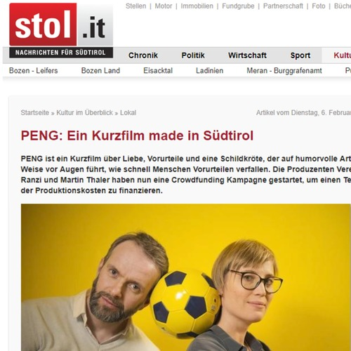 "Stol.it 06.02.2018 - ""PENG : Ein Kurzfilm made in Südtirol"""