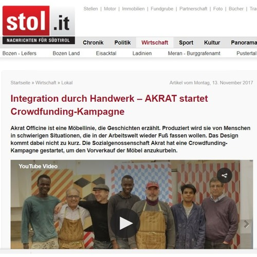 13.11.2017_Stol.it: Integration durch Handwerk – AKRAT startet Crowdfunding-Kampagne